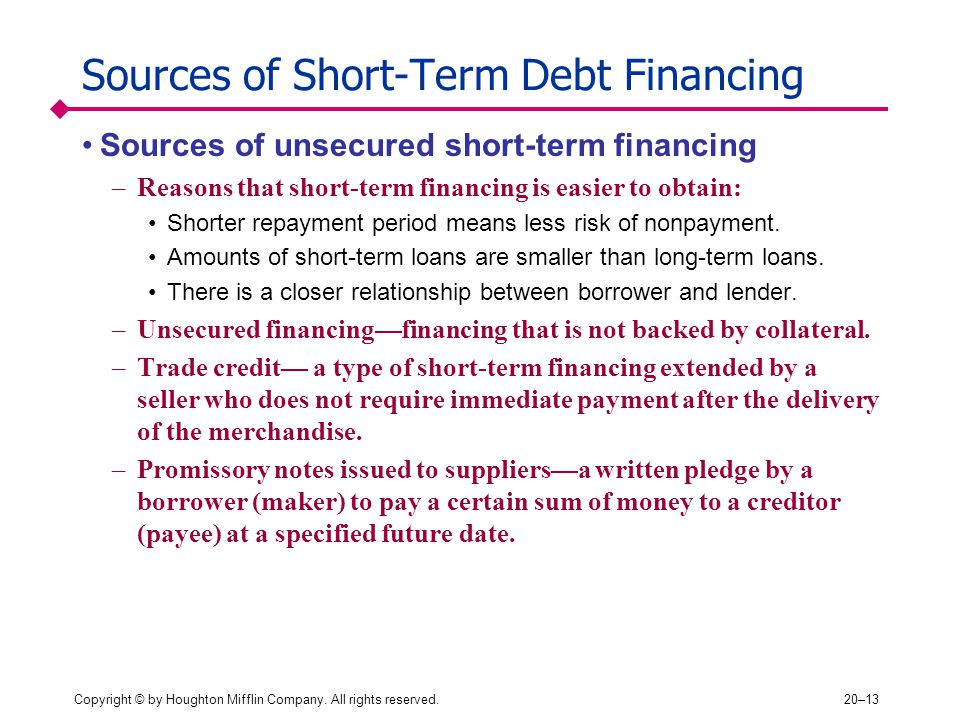 Sources of Short-Term Debt Financing