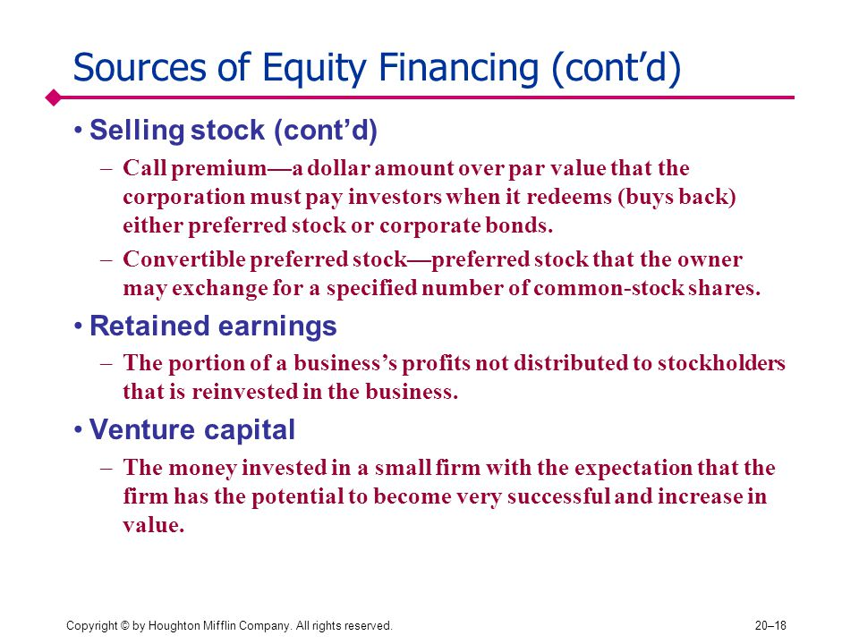 Sources of Equity Financing (cont'd)
