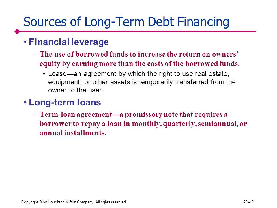 Sources of Long-Term Debt Financing