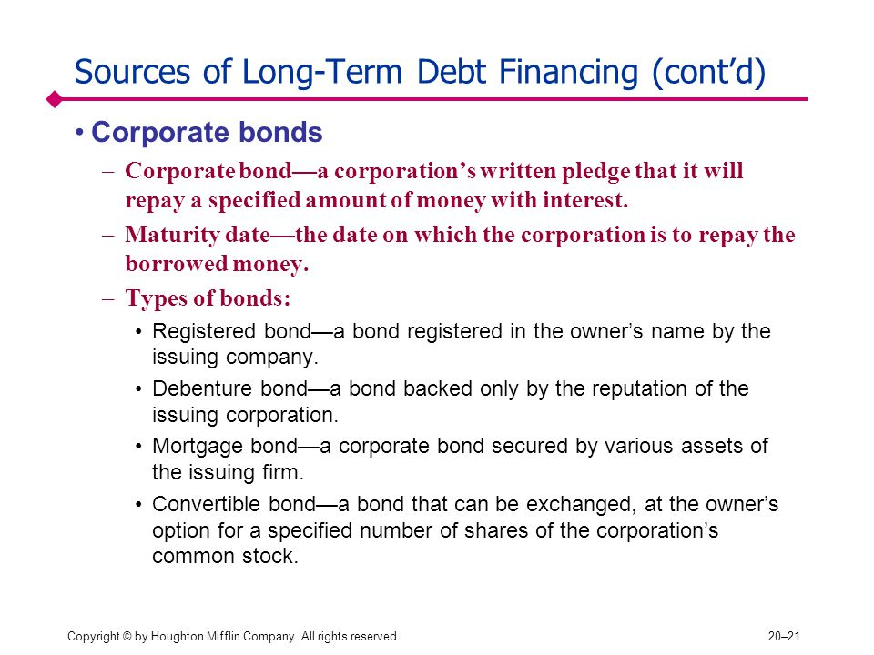 Sources of Long-Term Debt Financing (cont'd)