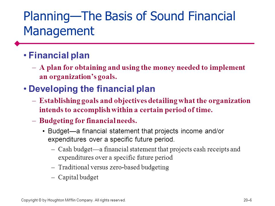 Planning—The Basis of Sound Financial Management