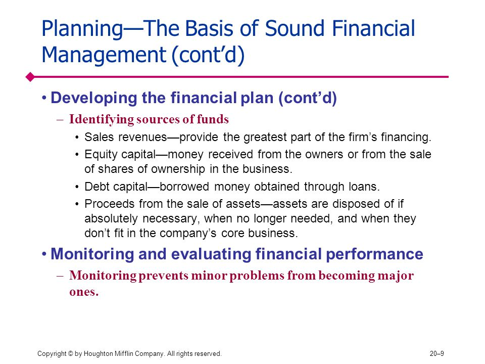 Planning—The Basis of Sound Financial Management (cont'd)