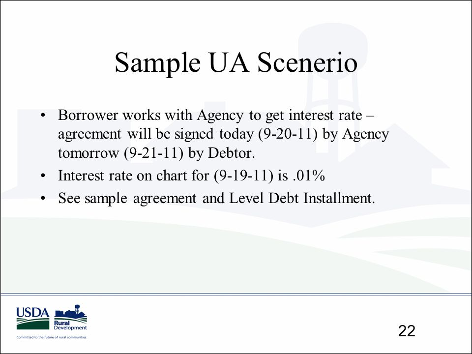 Sample UA Scenerio Borrower works with Agency to get interest rate – agreement will be signed today (9-20-11) by Agency tomorrow (9-21-11) by Debtor.