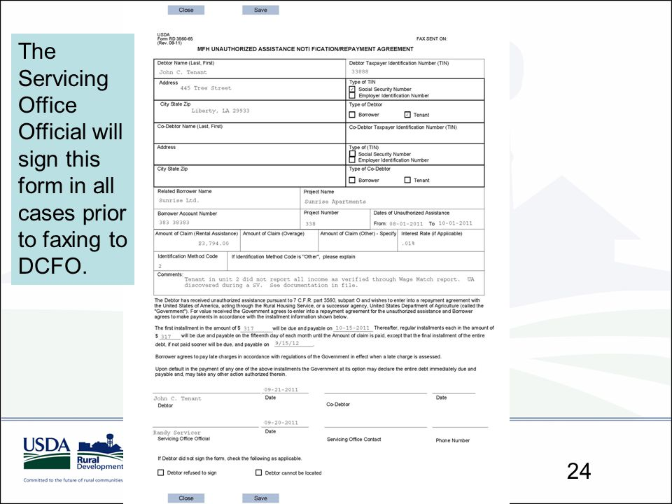 The Servicing Office Official will sign this form in all cases prior to faxing to DCFO.