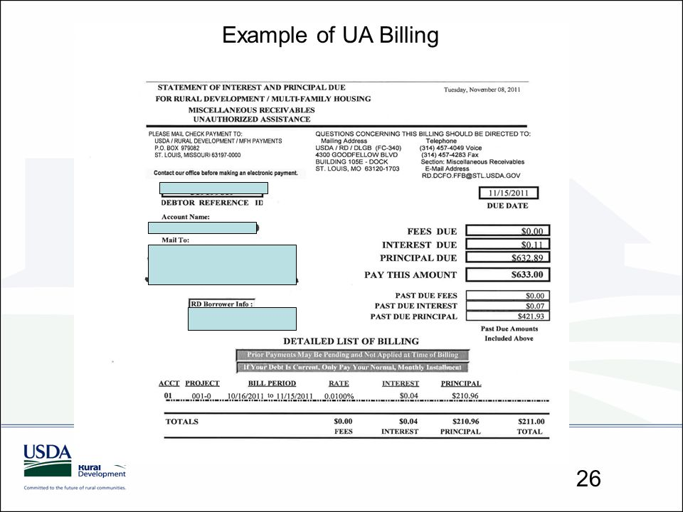 Example of UA Billing 26