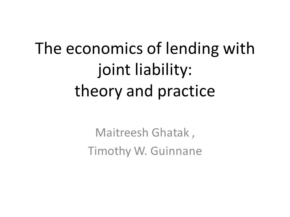 The economics of lending with joint liability: theory and practice