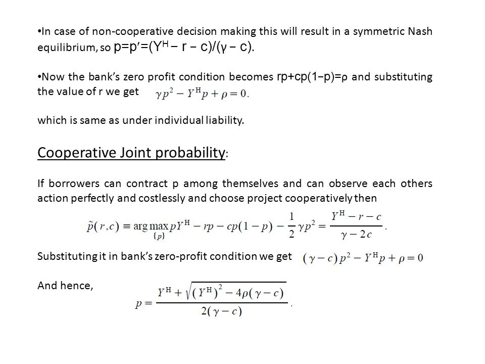 Cooperative Joint probability: