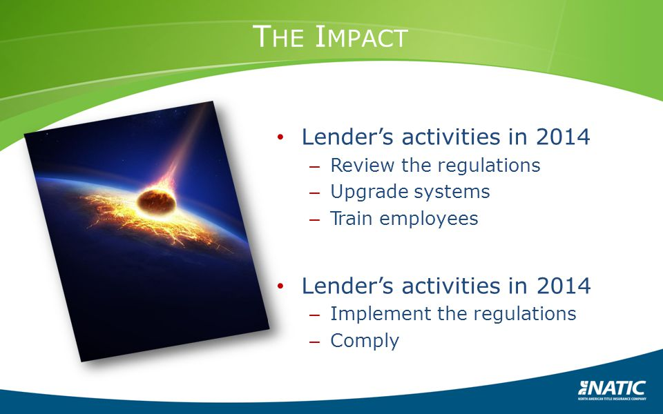 The Impact Lender's activities in 2014 Review the regulations