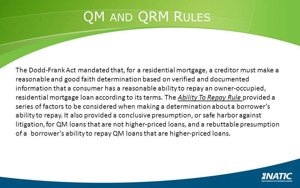 QM and QRM Rules