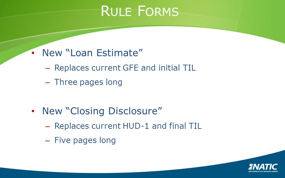 Rule Forms New Loan Estimate New Closing Disclosure