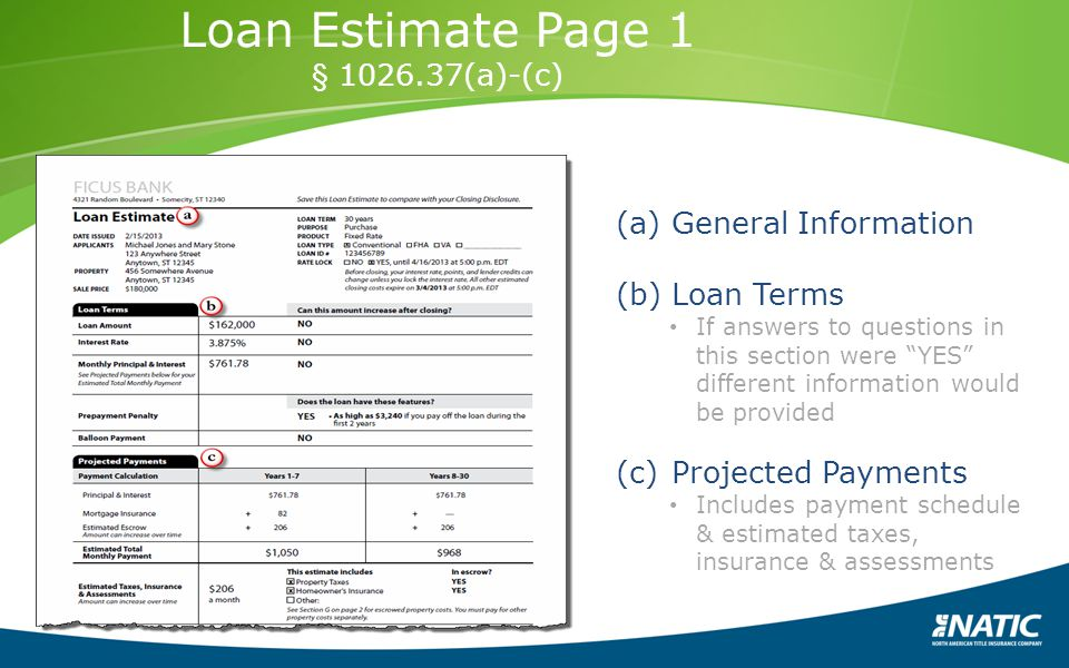 Loan Estimate Page 1 § 1026.37(a)-(c) General Information Loan Terms