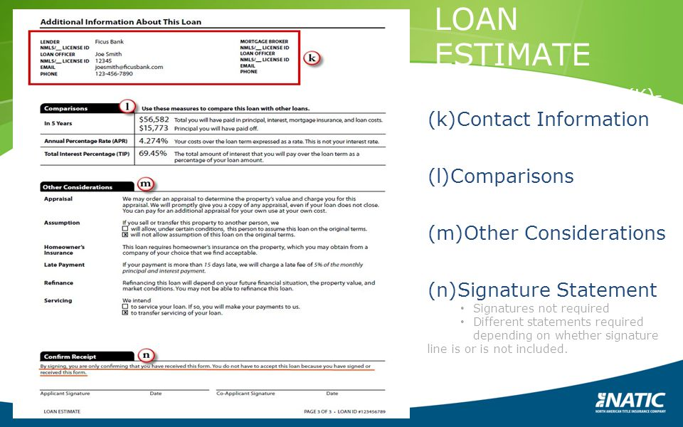 LOAN ESTIMATE PAGE 3 1026.37(K)-(N)