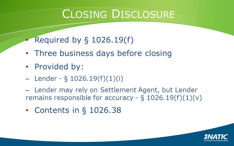 Closing Disclosure Required by § 1026.19(f)