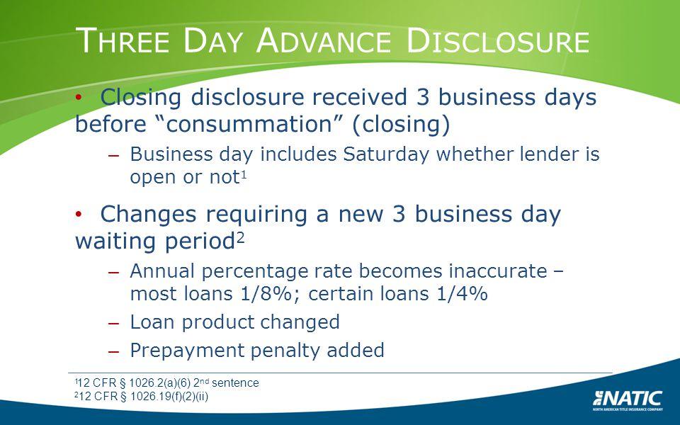 Three Day Advance Disclosure