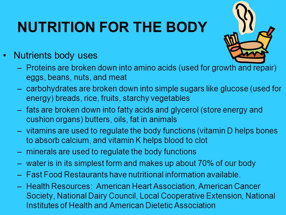NUTRITION FOR THE BODY Nutrients body uses