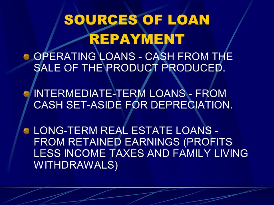 SOURCES OF LOAN REPAYMENT