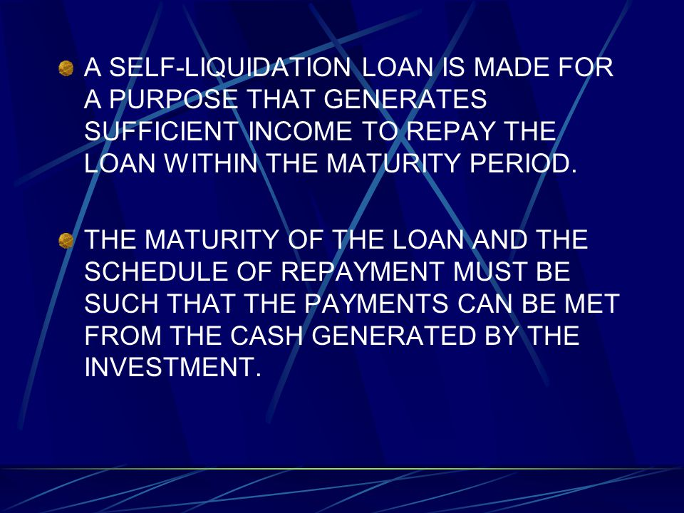 A SELF-LIQUIDATION LOAN IS MADE FOR A PURPOSE THAT GENERATES SUFFICIENT INCOME TO REPAY THE LOAN WITHIN THE MATURITY PERIOD.