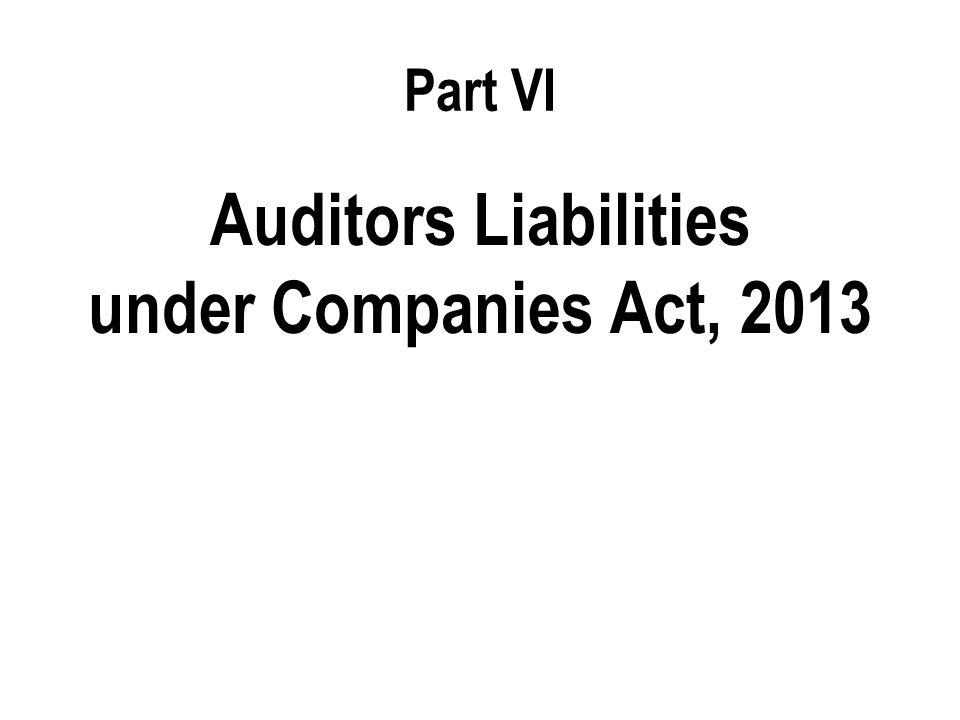 Auditors Liabilities under Companies Act, 2013