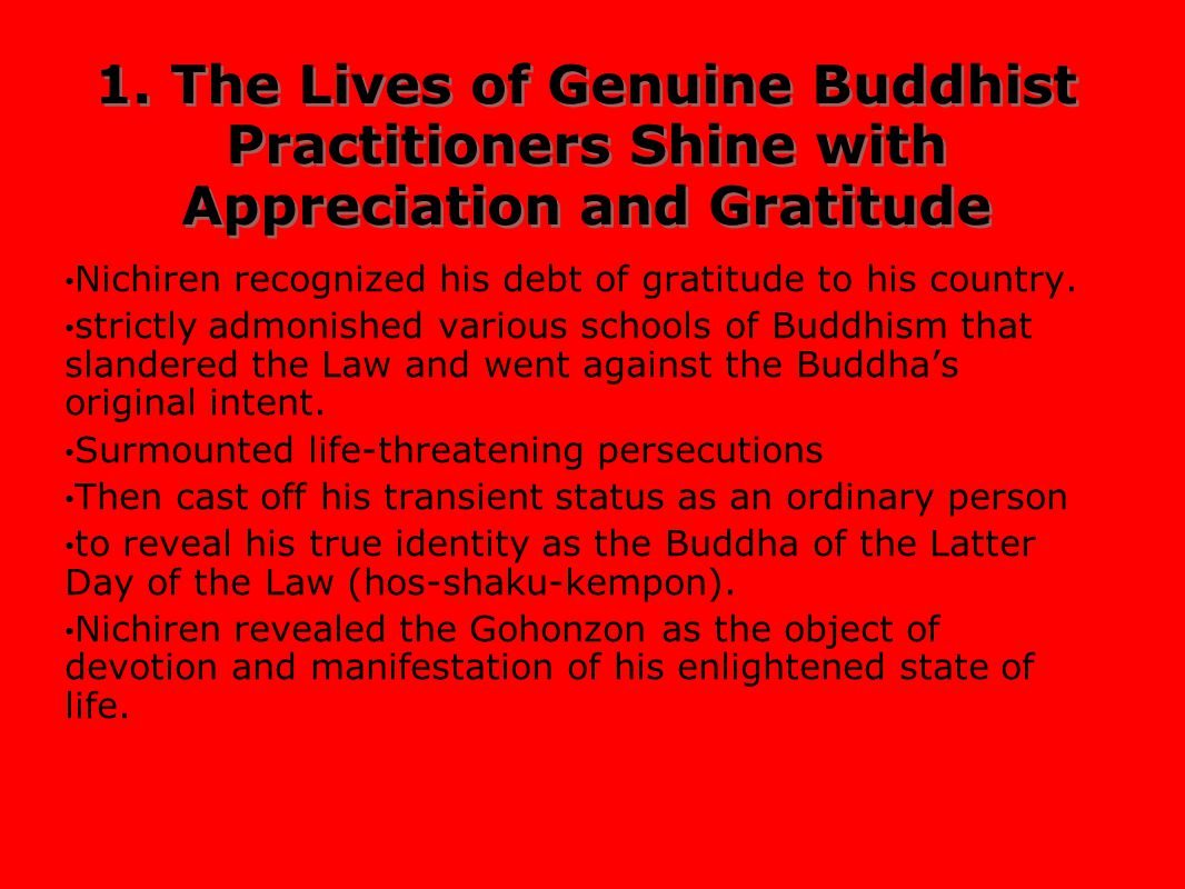 1. The Lives of Genuine Buddhist Practitioners Shine with Appreciation and Gratitude