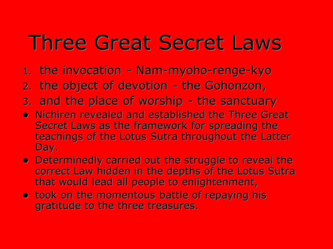 Three Great Secret Laws