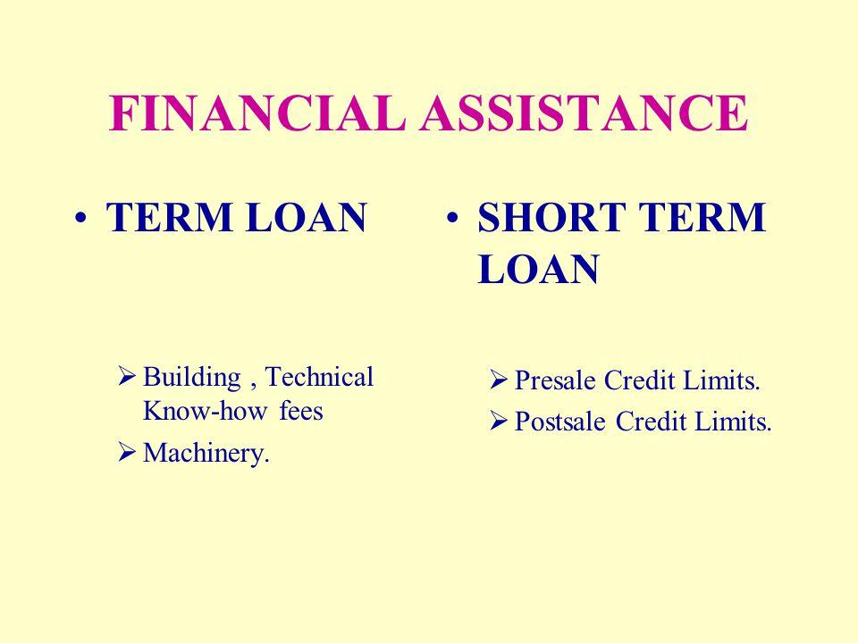 FINANCIAL ASSISTANCE TERM LOAN SHORT TERM LOAN