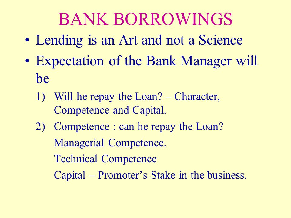 BANK BORROWINGS Lending is an Art and not a Science