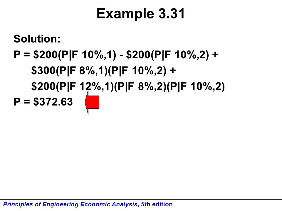 Example 3.31 Solution: P = $200(P F 10%,1) - $200(P F 10%,2) +