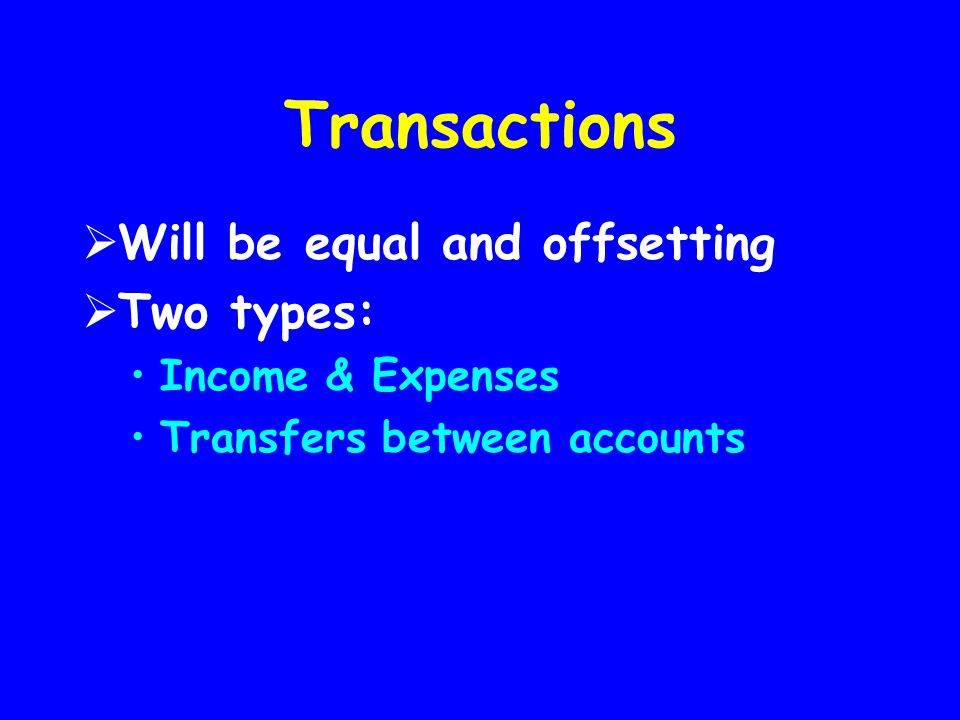 Transactions Will be equal and offsetting Two types: Income & Expenses