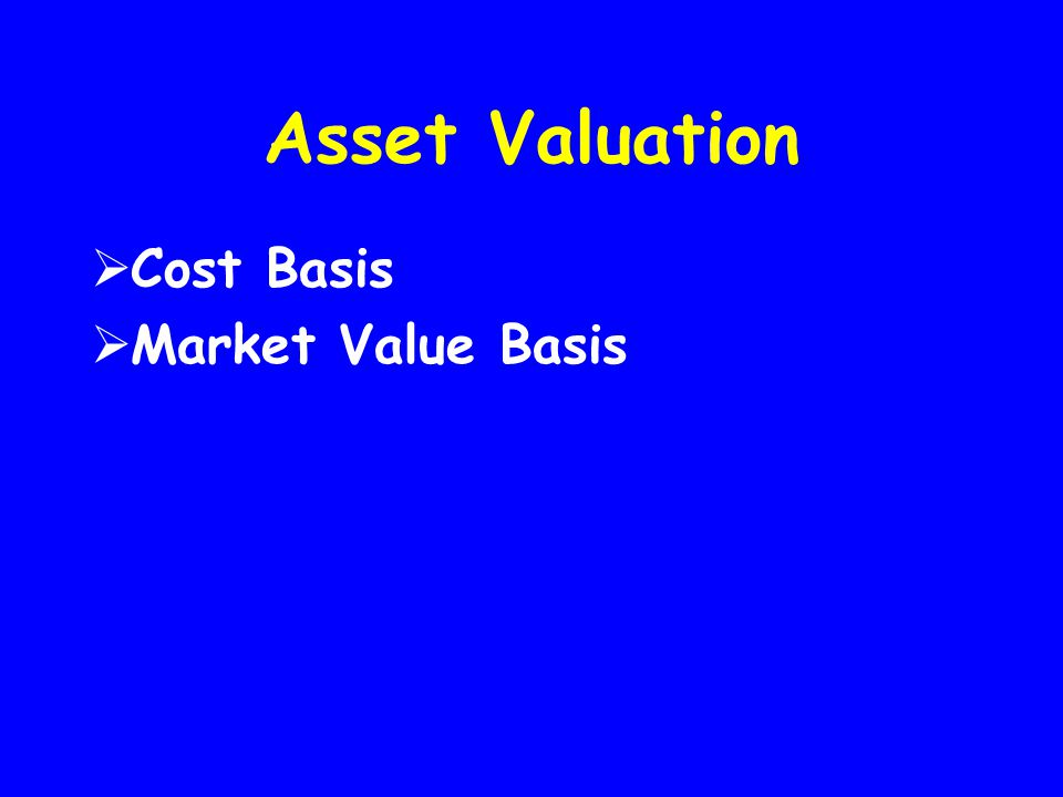 Asset Valuation Cost Basis Market Value Basis
