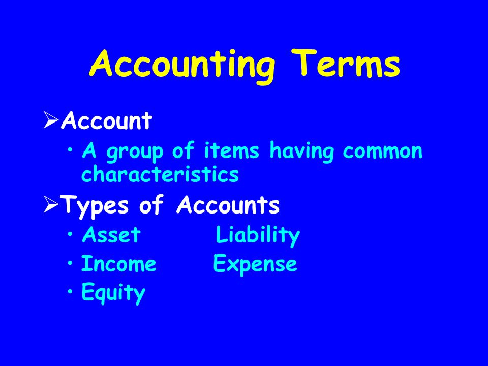 Accounting Terms Account Types of Accounts