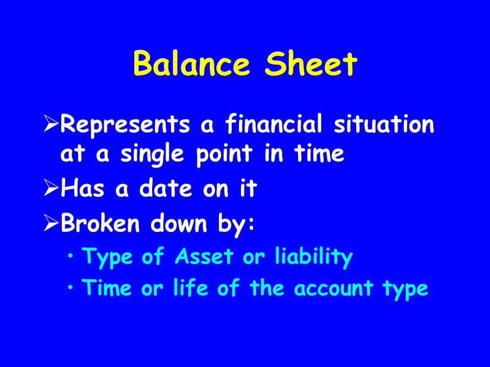 Balance Sheet Represents a financial situation at a single point in time. Has a date on it. Broken down by: