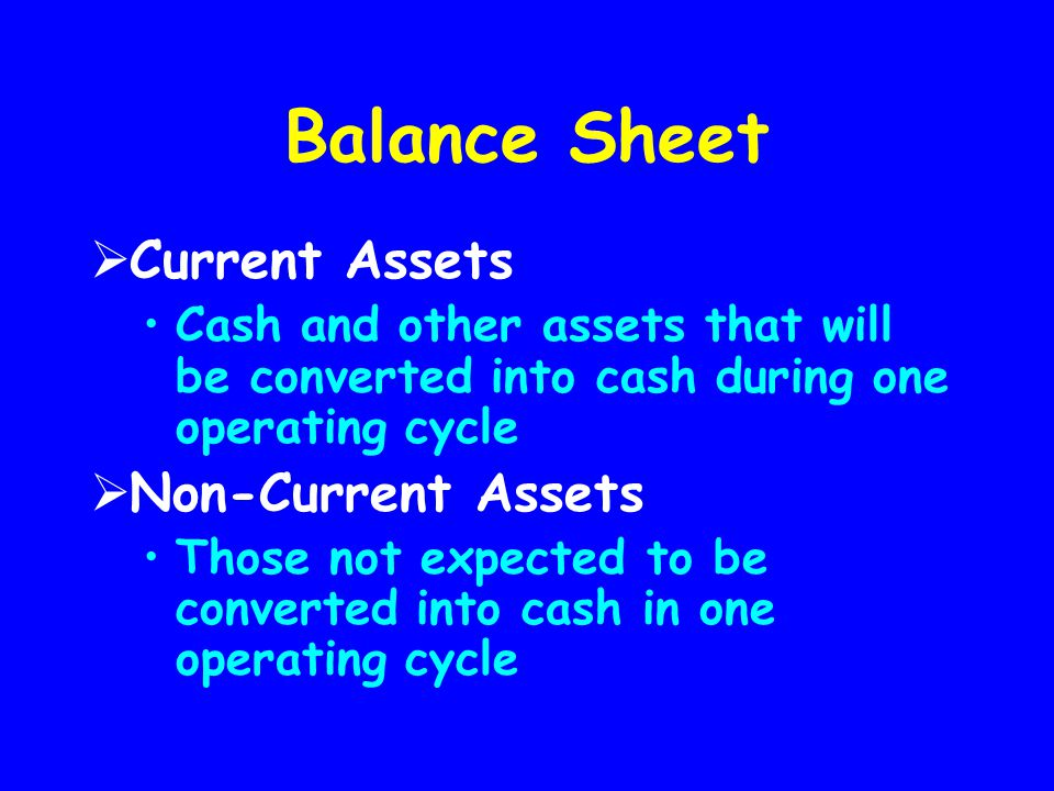 Balance Sheet Current Assets Non-Current Assets