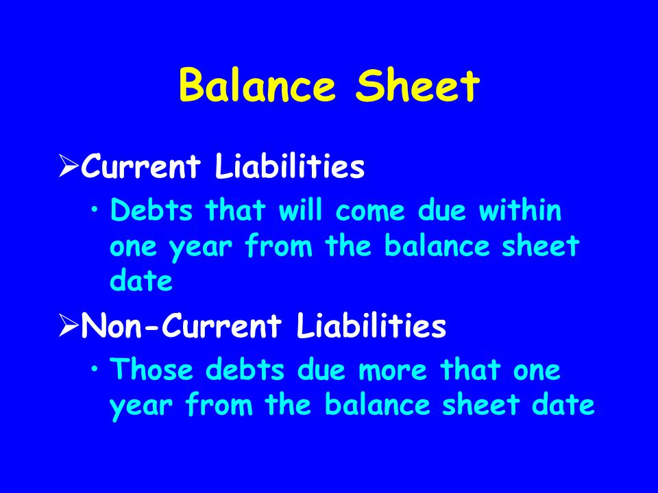 Balance Sheet Current Liabilities Non-Current Liabilities