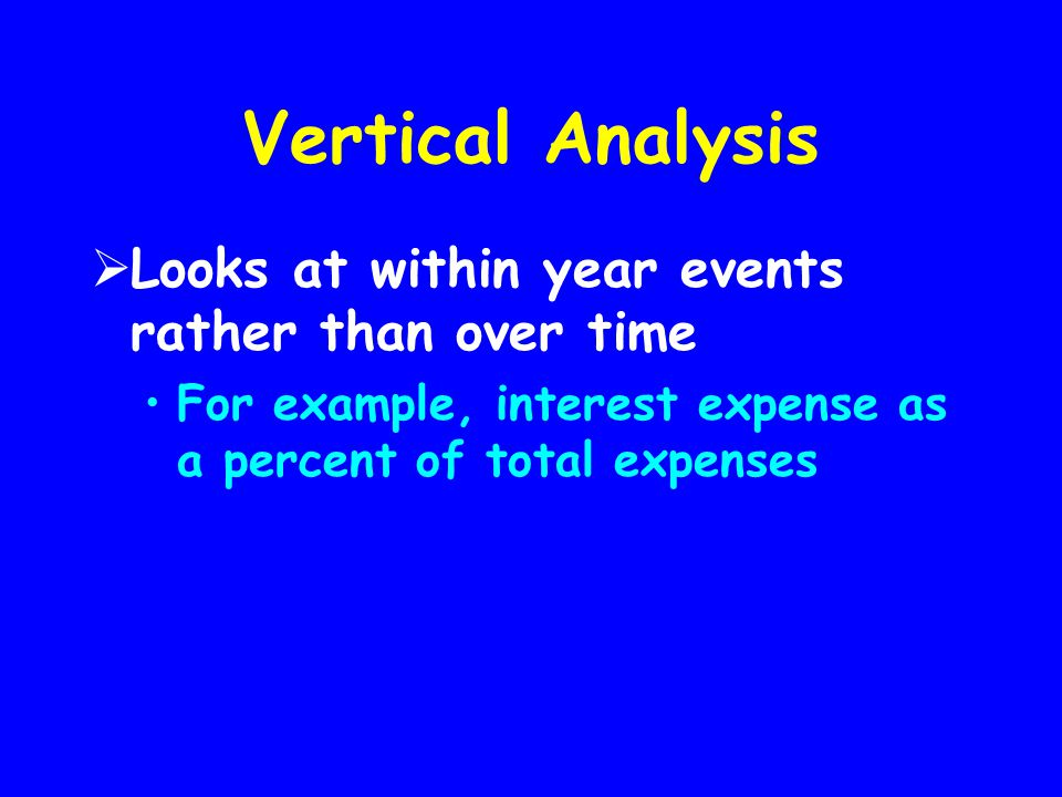 Vertical Analysis Looks at within year events rather than over time
