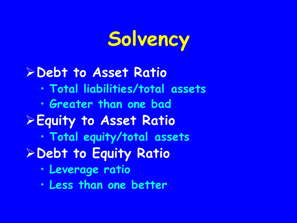Solvency Debt to Asset Ratio Equity to Asset Ratio