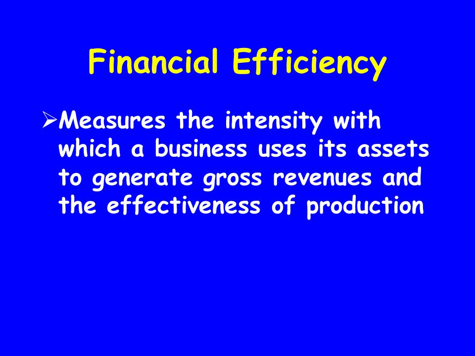 Financial Efficiency Measures the intensity with which a business uses its assets to generate gross revenues and the effectiveness of production.