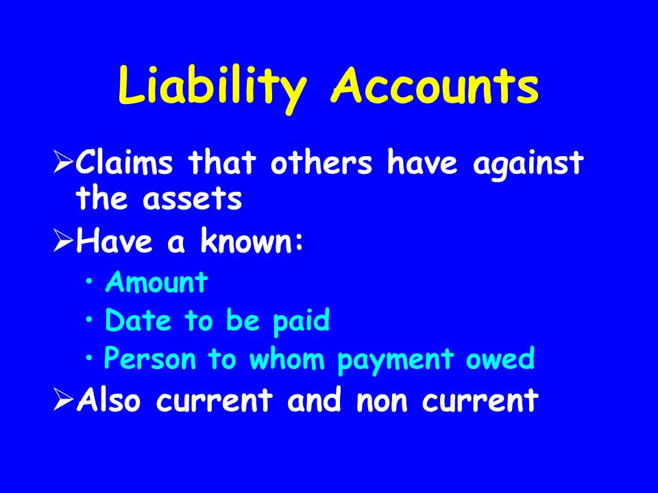Liability Accounts Claims that others have against the assets