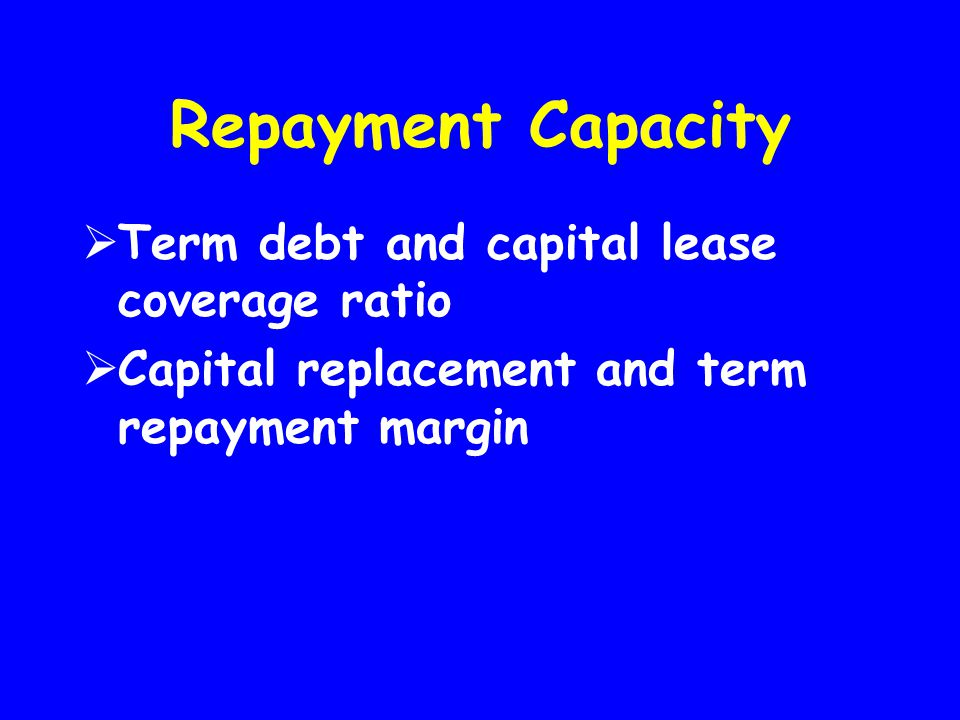 Repayment Capacity Term debt and capital lease coverage ratio