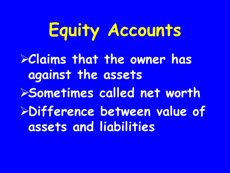 Equity Accounts Claims that the owner has against the assets