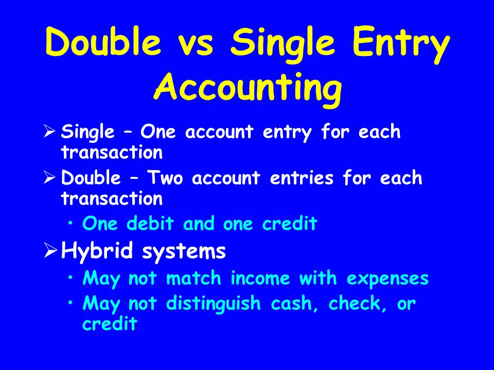Double vs Single Entry Accounting