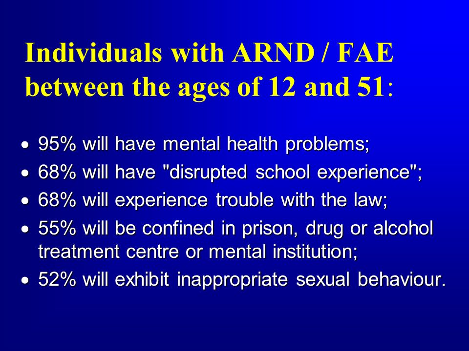 Individuals with ARND / FAE between the ages of 12 and 51: