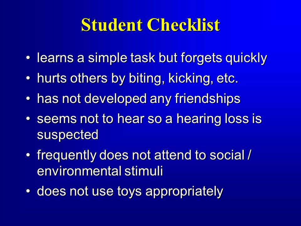 Student Checklist learns a simple task but forgets quickly