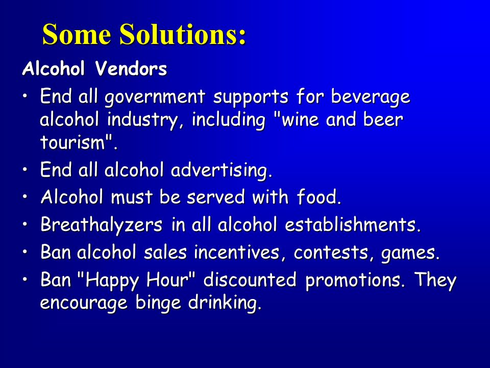 Some Solutions: Alcohol Vendors