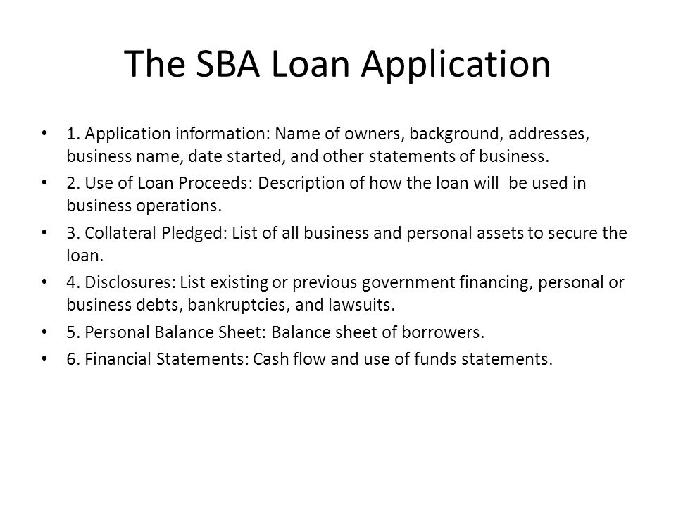 The SBA Loan Application
