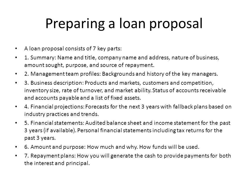 Preparing a loan proposal