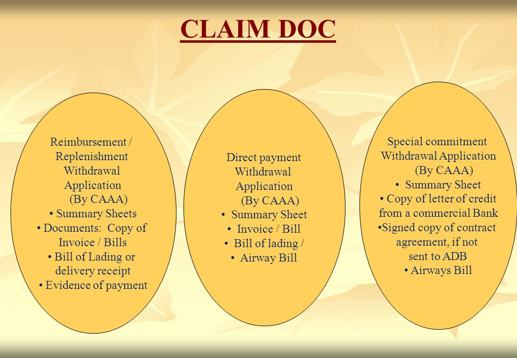 CLAIM DOC Special commitment Reimbursement / Withdrawal Application