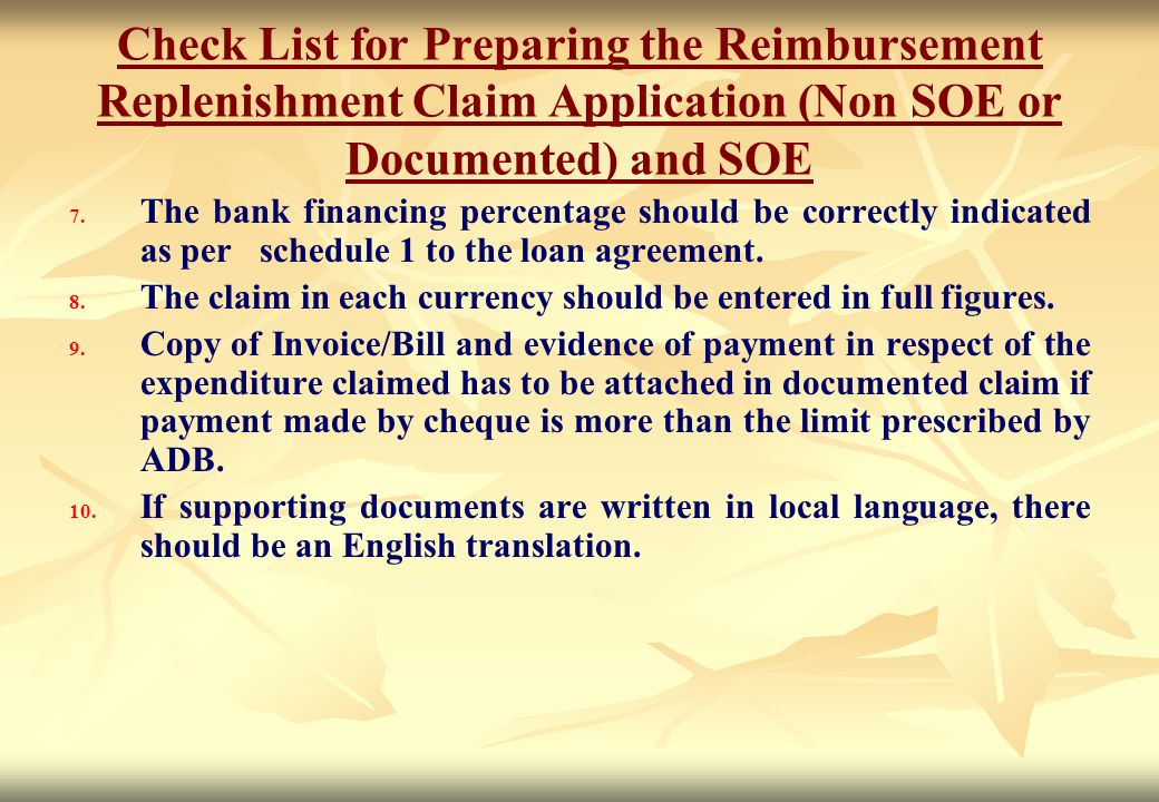 Check List for Preparing the Reimbursement Replenishment Claim Application (Non SOE or Documented) and SOE
