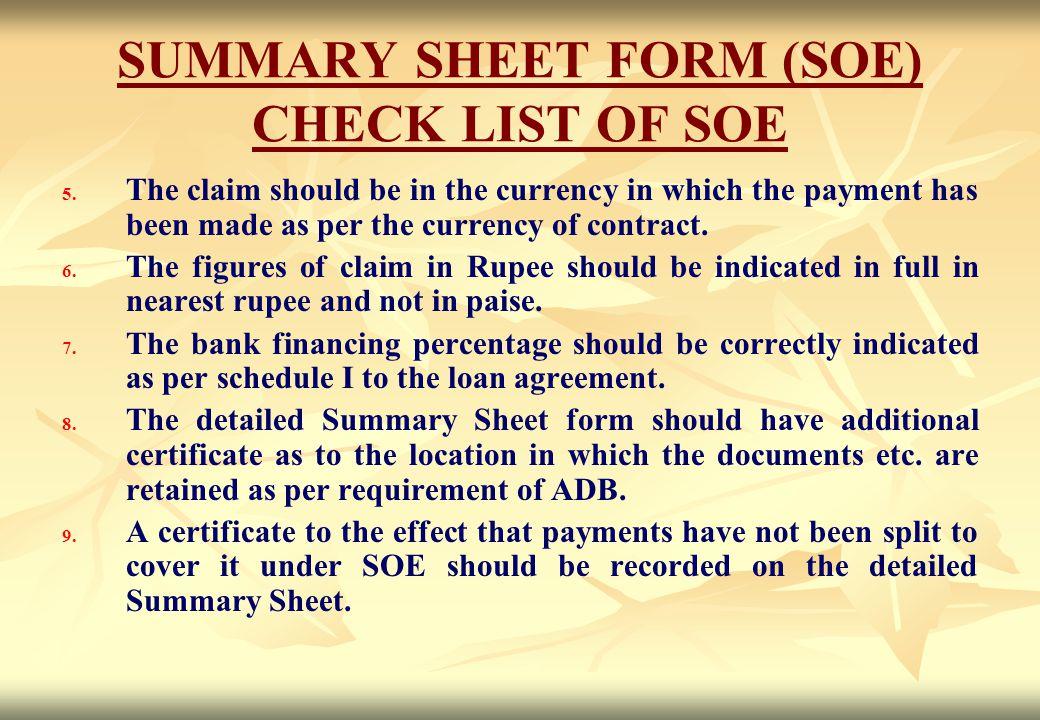 SUMMARY SHEET FORM (SOE) CHECK LIST OF SOE