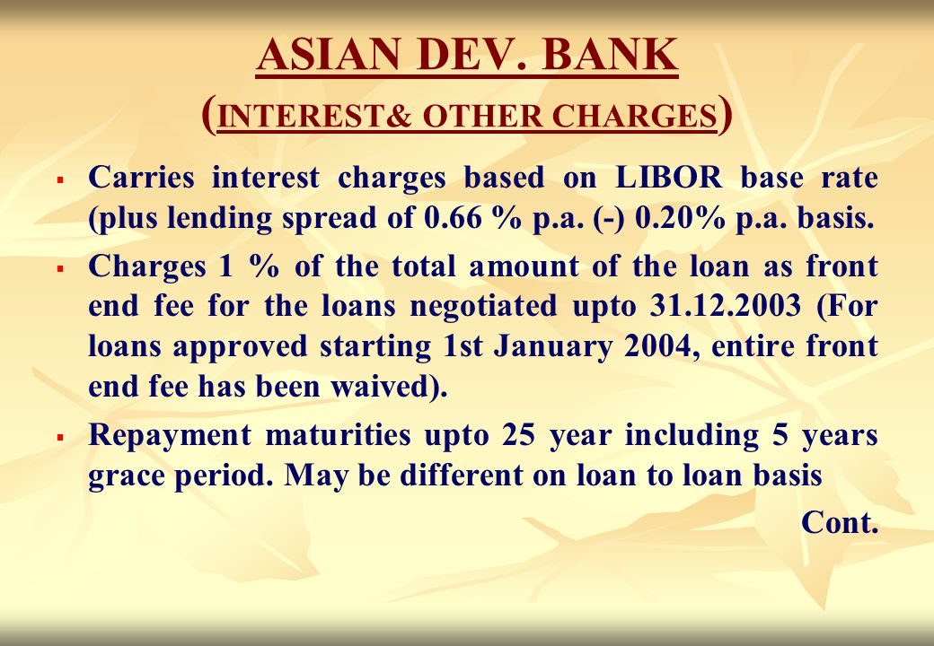 ASIAN DEV. BANK (INTEREST& OTHER CHARGES)