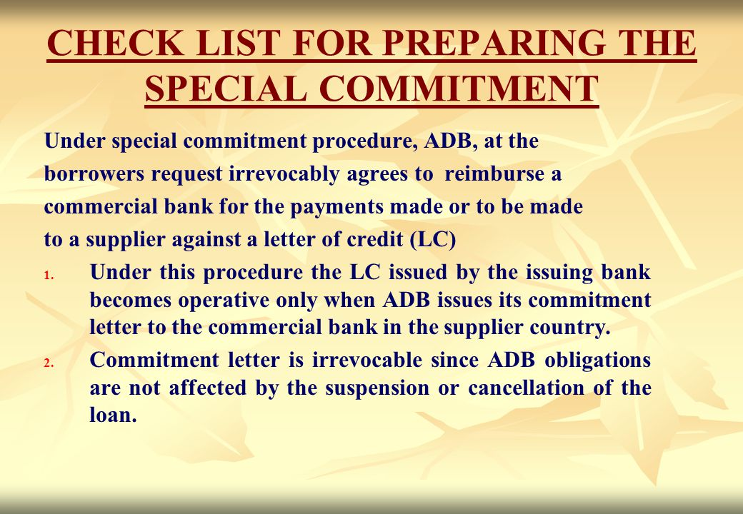 CHECK LIST FOR PREPARING THE SPECIAL COMMITMENT